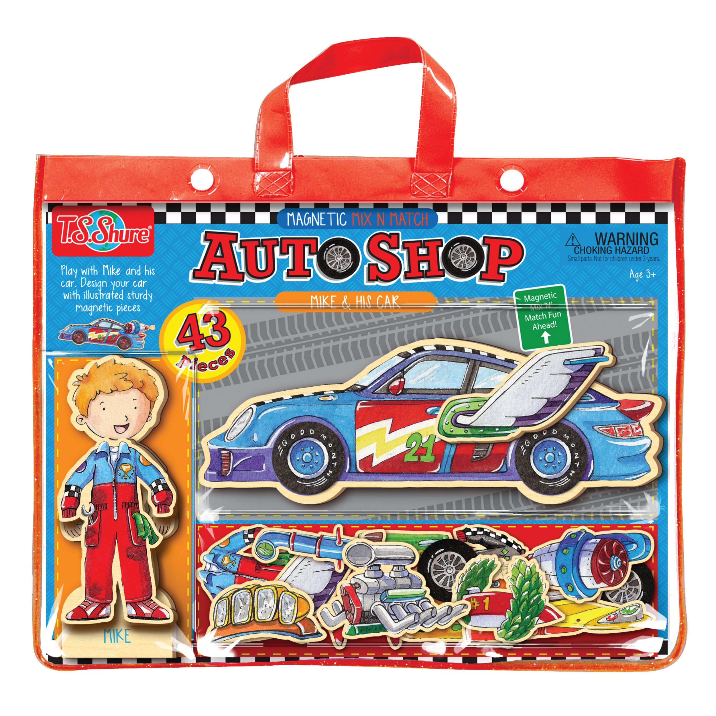 T.S. Shure Auto Shop Mike and His Car Magnetic Action Hero Doll