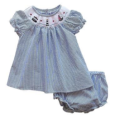 0c016baf1b173 Amazon.com: Good Lad Newborn/Infant Baby Girls Seersucker Smocked Dresses  with Nautical Embroideries: Clothing