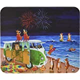 Caroline's Treasures Corgi Beach Party Volkswagon Bus Fireworks Mouse Pad/Hot Pad/Trivet (7317MP)