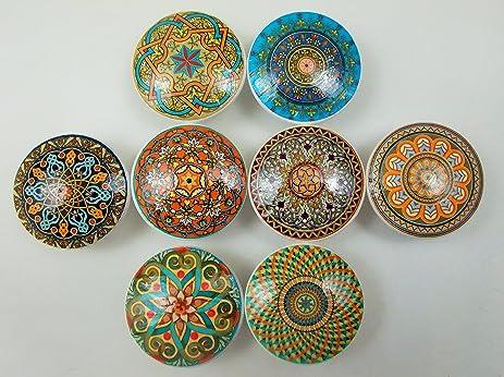Set Of 8 Oriental Mandalas Oversized Cabinet Knobs