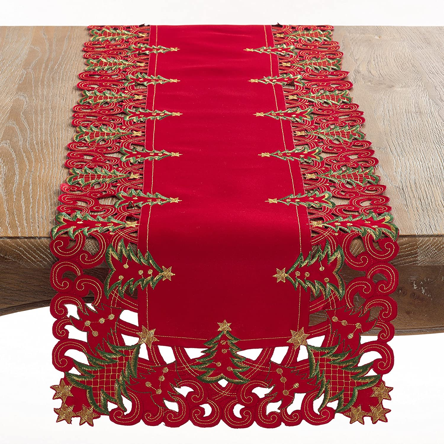 """SARO LIFESTYLE Pandoro Collection Polyester Holiday Runner With Christmas Trees Design, 16"""" x 54"""", Red"""