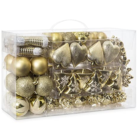 8b696deeb Amazon.com: Best Choice Products Set of 72 Handcrafted Assorted Shatterproof  Hanging Christmas Ornaments Decoration w/Embossed Glitter Design - Gold: ...