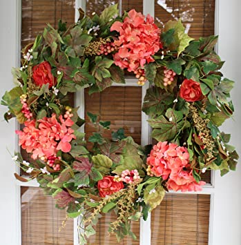 Amazon.com: Genesee Silk Spring Door Wreath 24 Inch- Beautiful Silk ...