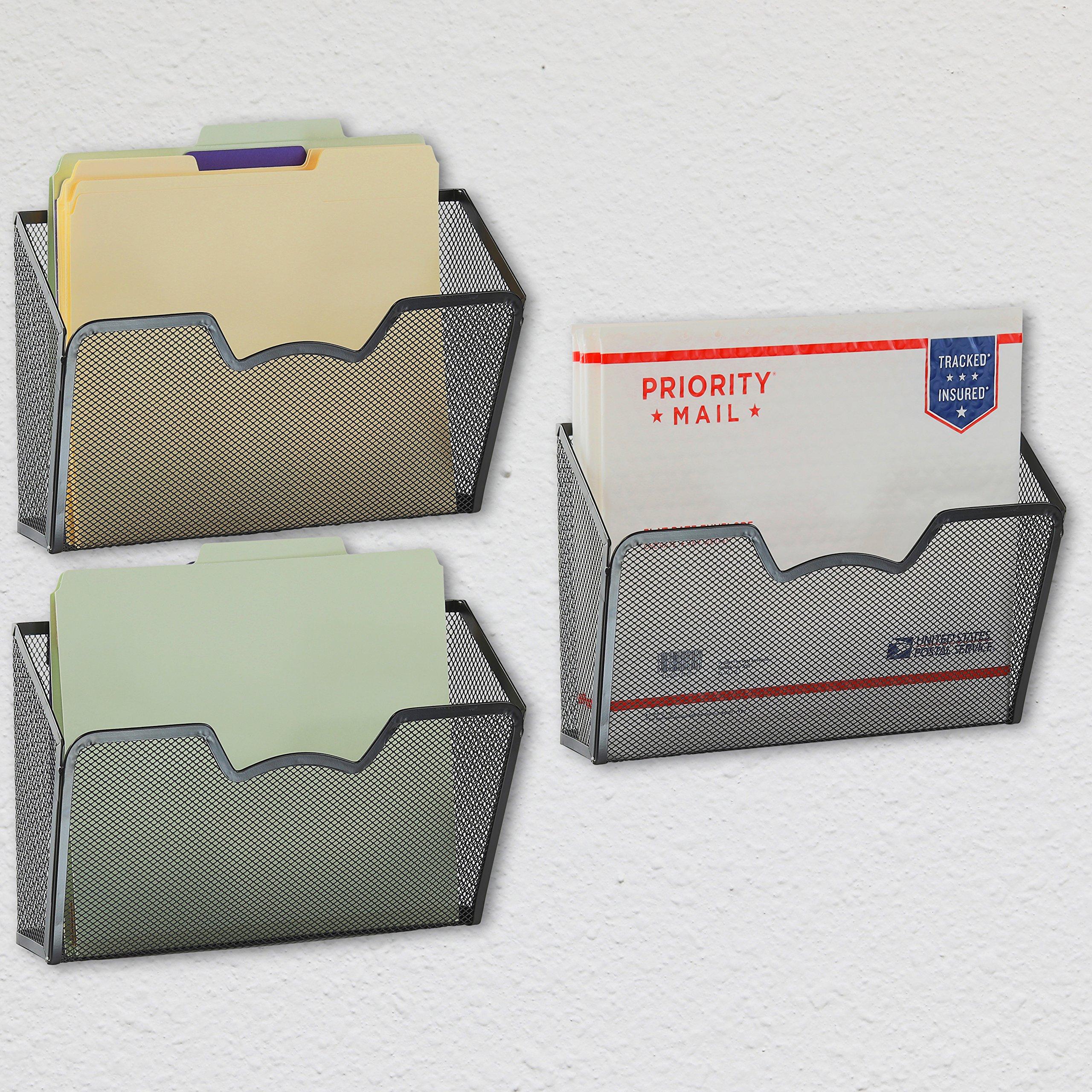 3 Pack - SimpleHouseware Wall Mount Single Pocket File Organizer Holder, Black by Simple Houseware