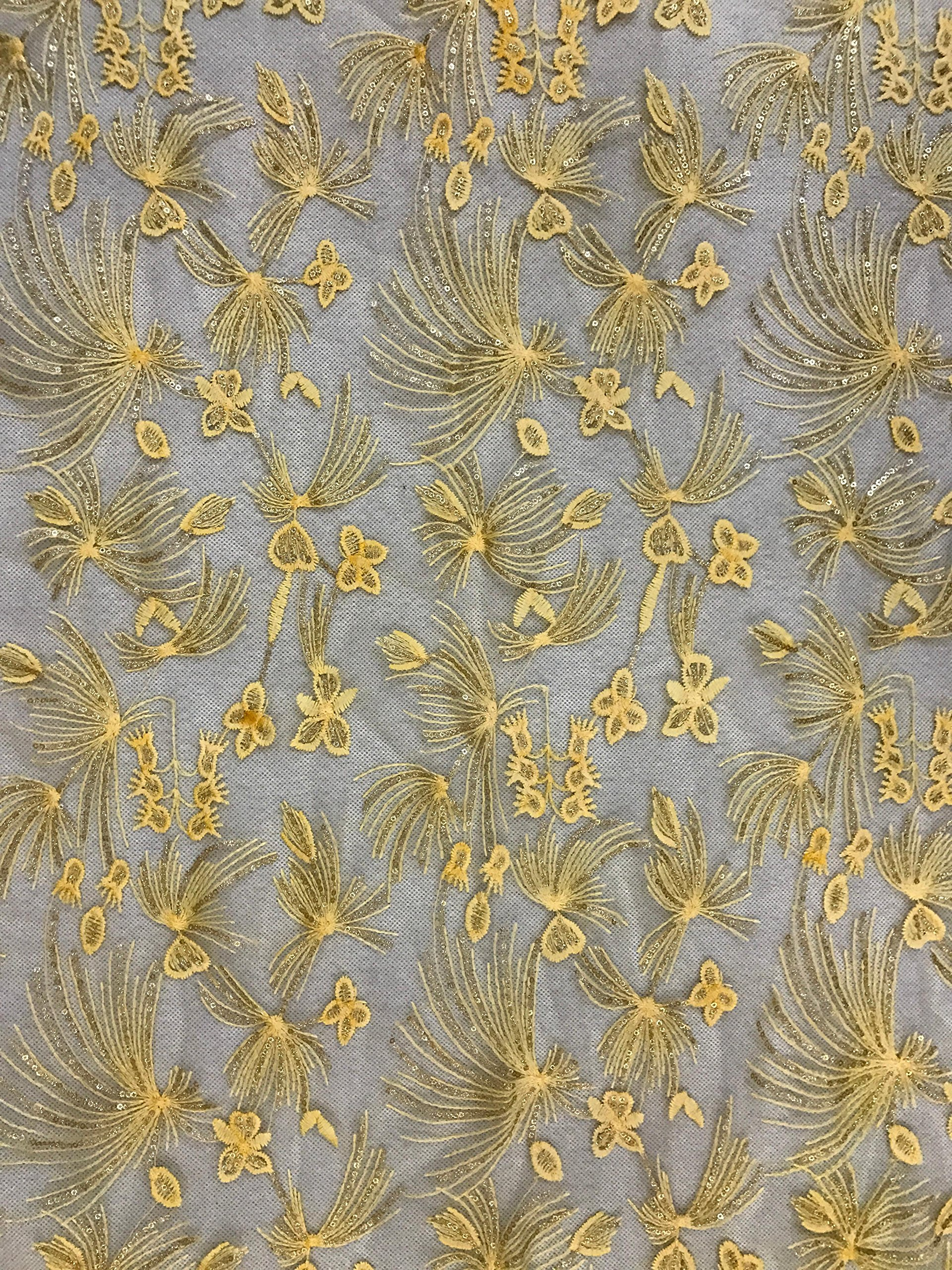 Fongbay African Lace Fabric 5 Yards Milk Shredded Sequins Lace Embroidered Fabrics Suitable for Party Wedding Dress Short Skirt or Handmade DIY,Yellow by Fongbay