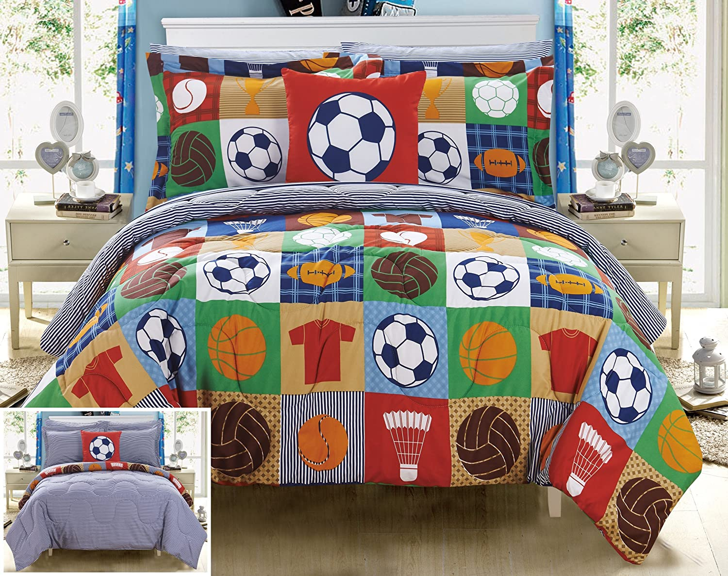 Chic Home Shiloh 8 Piece Reversible Comforter Patchwork Print Athletic Youth Design Bed in a Bag-Sheet Set Decorative Pillow Shams Included Size, Full, Multi Color