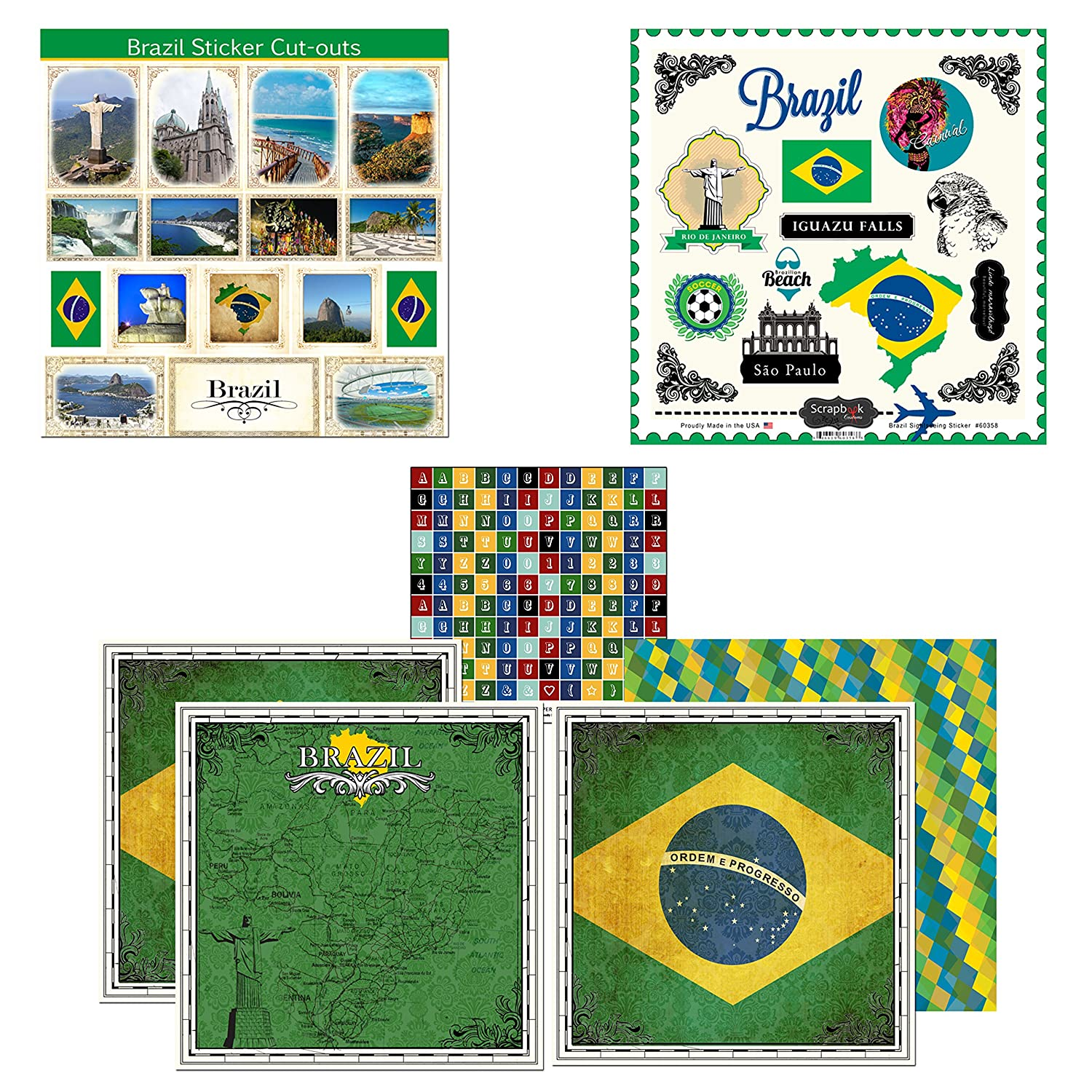 4537235cec1ba Scrapbook Customs Themed Paper and Stickers Scrapbook Kit, Brazil  Sightseeing