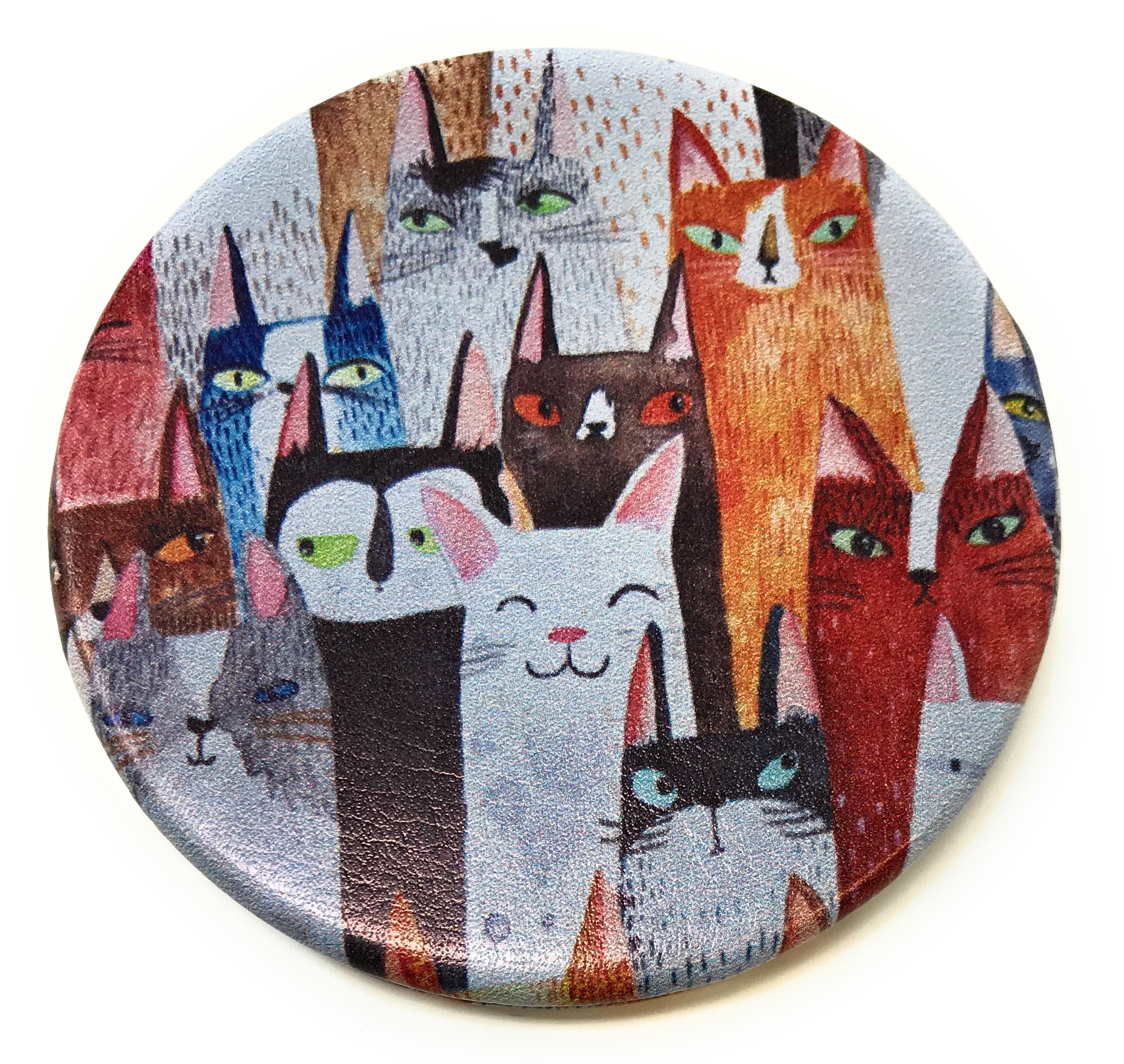 Whimsical Cats Personal Makeup Mirror - Purse Pocket Compact - 2 in 1 With 2X Magnification