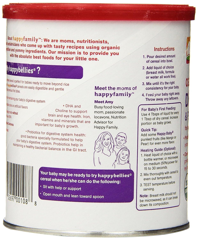 Amazon.com : Feliz Cereal Vientres Orgánica Bebé con DHA, Colina y probióticos, harina de avena, Botes 7 onzas (paquete de 6) : Baby