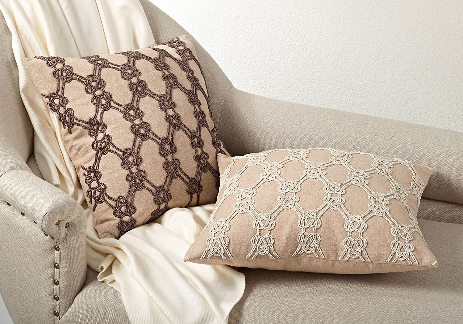 Vanilla 18 Square SARO LIFESTYLE 588 Ganda Collection Cotton Beaded Knotted Design Down Filled Throw Pillow