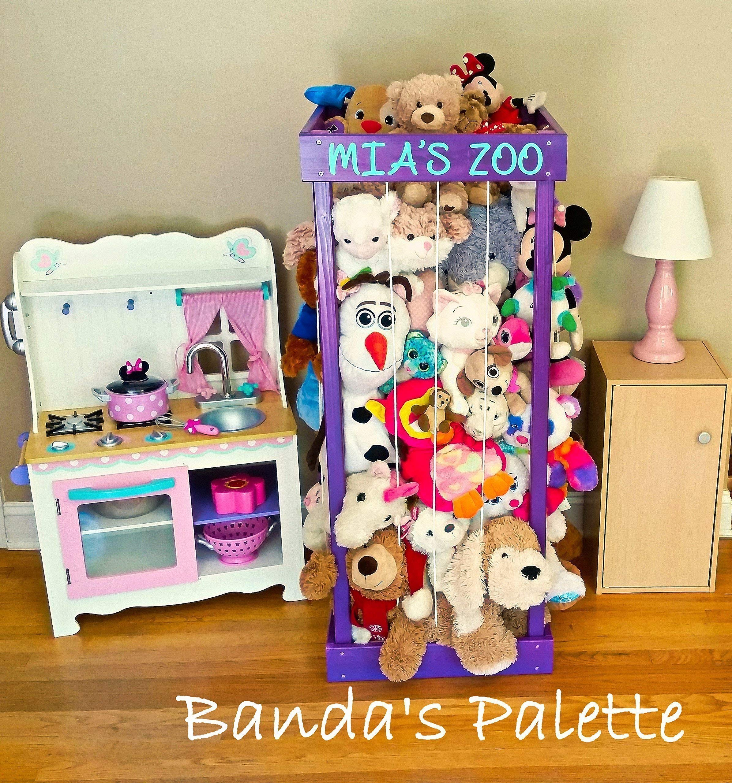 2', 32'', 3', 4' Personalized Stuffed Animal Zoo, Wood Animal Holder, Storage, Stuffed Animal Organizer, Kids Gifts, Ball Storage, Birthday Gift, Stuffed Animal Storage, Zoo Keeper by Banda's Palette