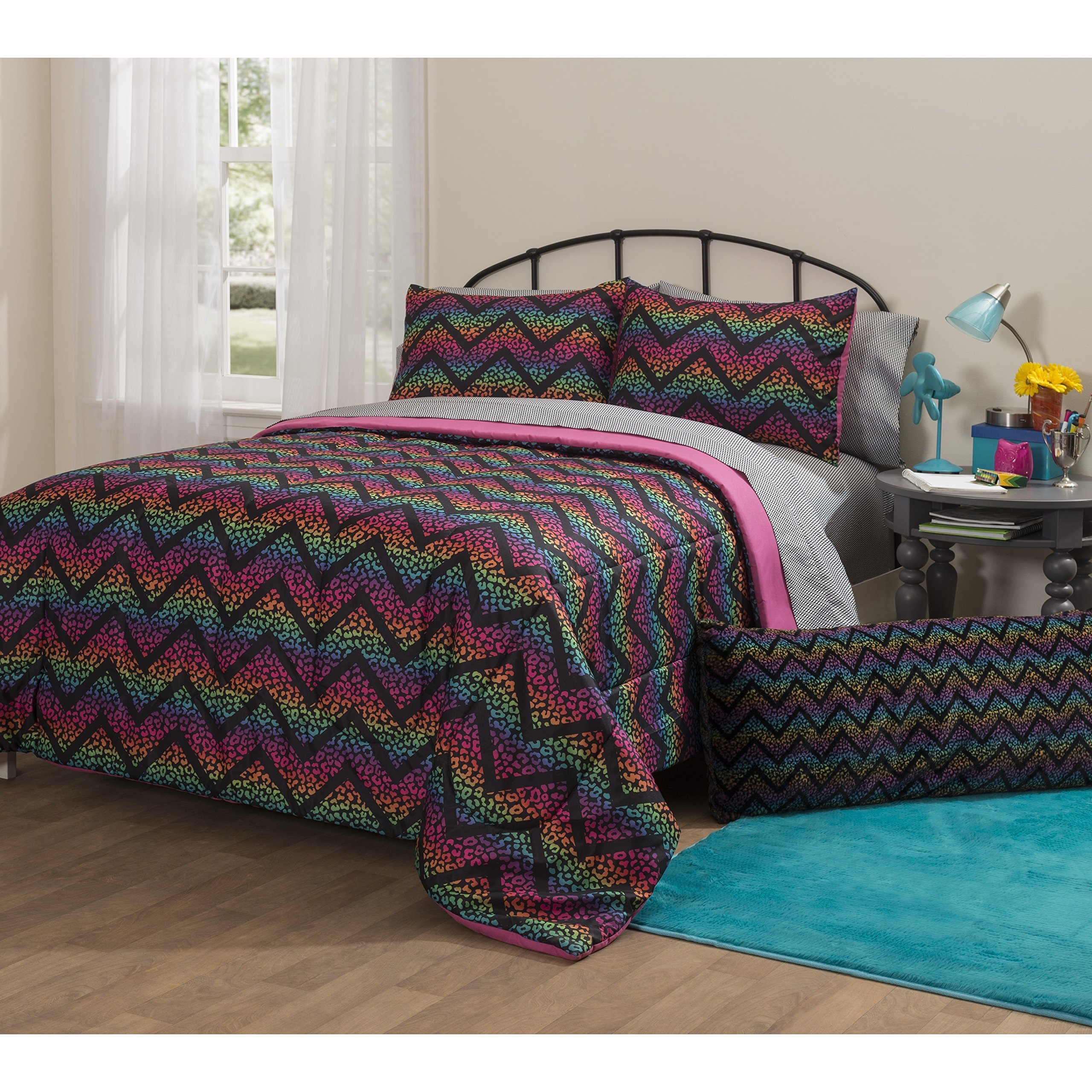 7 Piece Girls Pink Purple Rainbow Cheetah Comforter Set Full Sized, Exotic Cat Bedding Colorful Chevron Pattern Spotted Print Ombre Colors Teal Blue Yellow Orange Black, Soft Microfiber Polyester