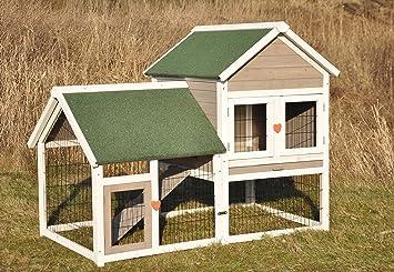 Nanook Fridolin Conejera / caseta / parque para conejos, gris / blanco,
