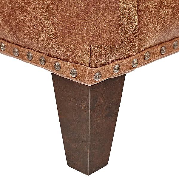"Stone & Beam Marin Leather Studded Loveseat, 60""W, Saddle Brown"