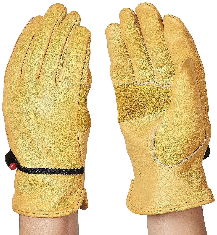 Amazon Basics Leather Work Gloves with Wrist Closure - Yellow, M
