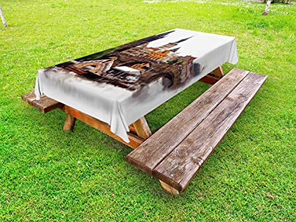 Awesome Amazon Com Ambesonne Scenery Outdoor Tablecloth European Interior Design Ideas Gentotryabchikinfo