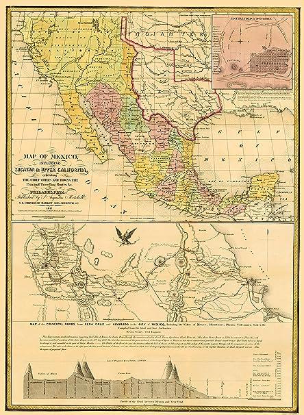 Amazon Com Old North America Map Mexico Yucatan And Upper