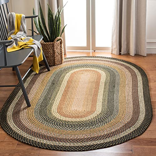 Safavieh Braided Collection BRD308A Hand Woven Blue and Multi Oval Area Rug 8 x 10 Oval