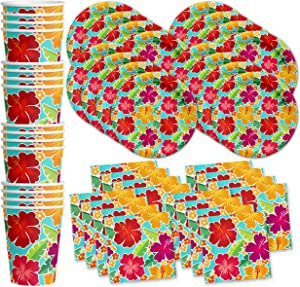 Hawaiian Hibiscus Flower Birthday Party Supplies Set Plates Napkins Cups Tableware Kit for 16