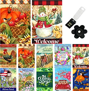 Country Charm Seasonal Garden Flag - Set of 10-12x18 Inch Double Sided Garden Flags For Outside with Anti-Wind Clip and Stopper Holiday Yard Flag. Quality Garden flags 12 x 18 Prime