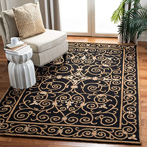 Safavieh Chelsea Collection HK11A Hand-Hooked Black Premium Wool Area Rug 8 9 x 11 9