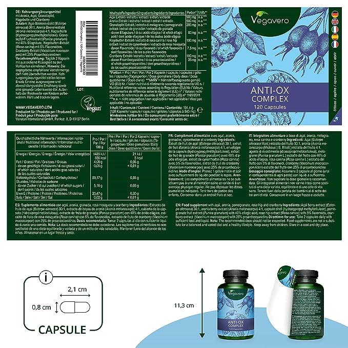 Suplemento Antioxidante Natural Vegavero® | Testado en Laboratorio | Recuperador Muscular | Acai + Aronia + Granada + Rosa Mosqueta + Arándano Rojo | ...