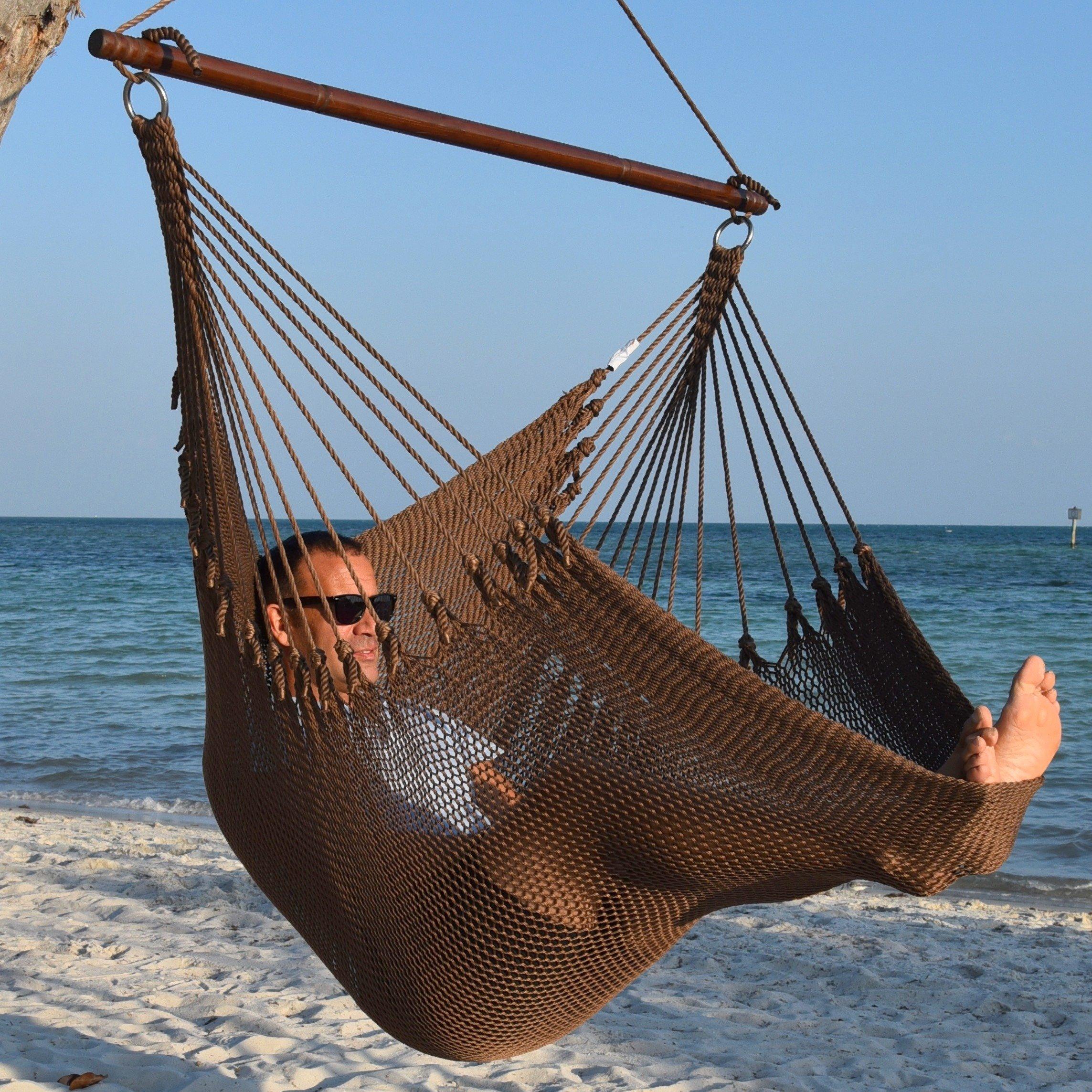 Jumbo Caribbean Hammock Chair with Footrest - 55 inch - Soft-Spun Polyester - Mocha