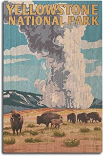 product image for Lantern Press Yellowstone National Park, Wyoming - Old Faithful Geyser and Bison Herd (10x15 Wood Wall Sign, Wall Decor Ready to Hang)