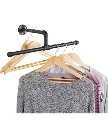3b53dc7f MyGift Industrial Rustic Wall-Mounted 20-Inch T-Bar Pipe Hanging Clothing  Rack