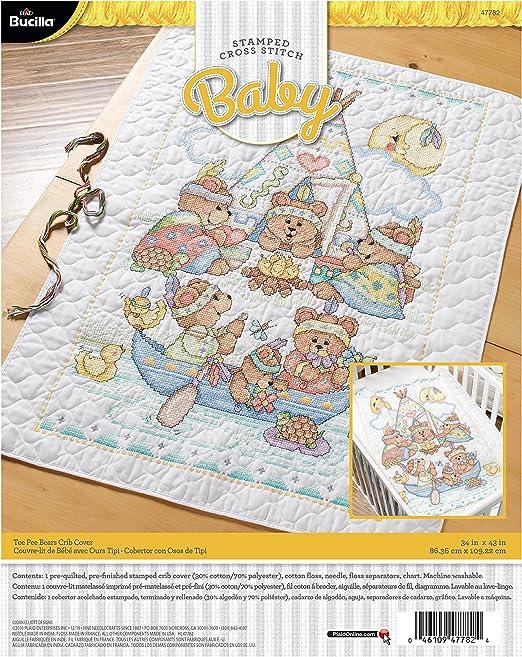 Bucilla 47782 Tee Pee Bears Crib Cover