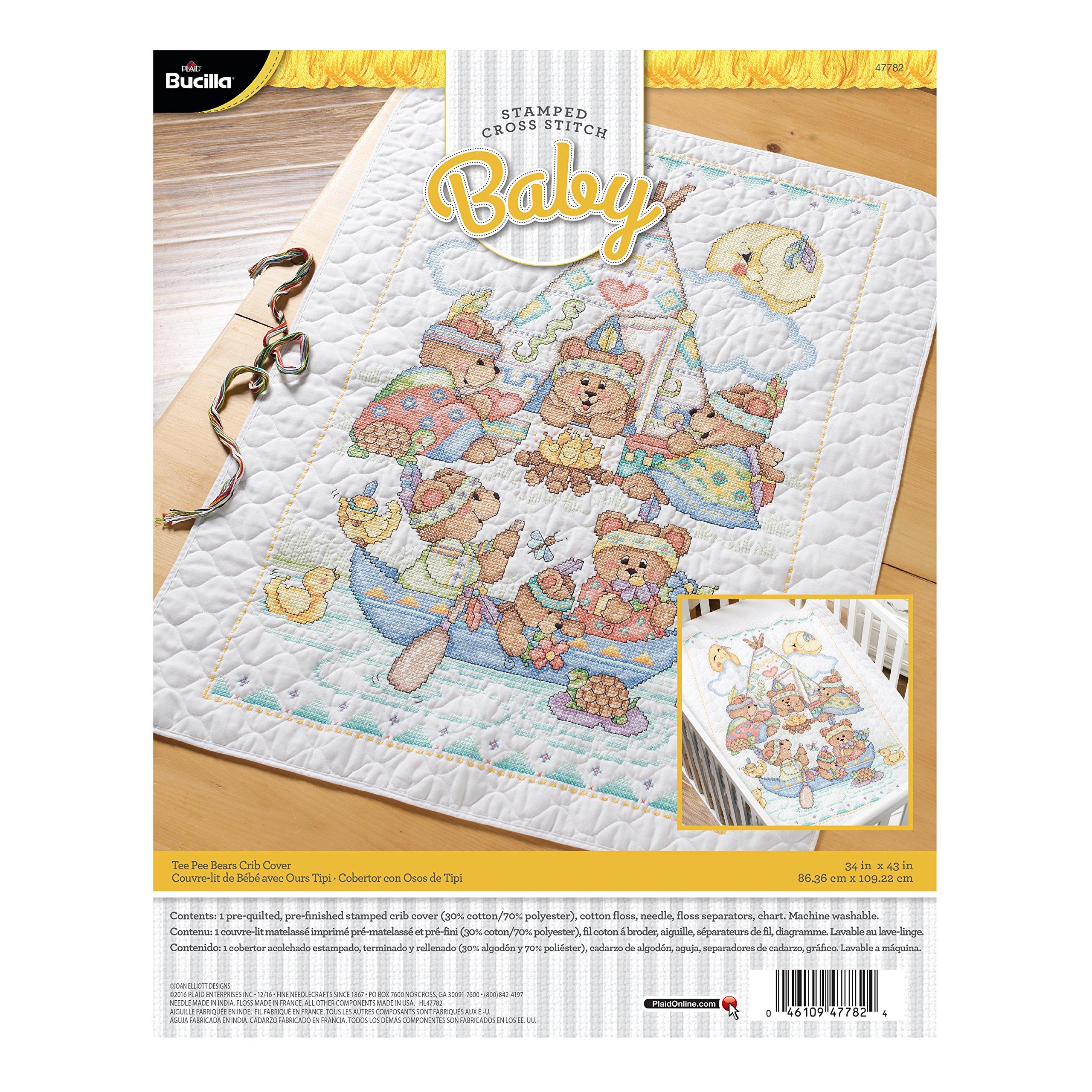 Bucilla 47782 Tee Pee Bears Stamped Cross Stitch Kit, 34'' x 43'', Crib Cover by Bucilla