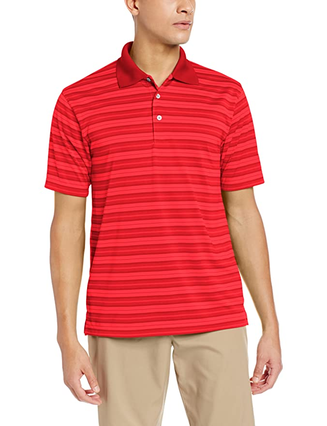 16a049e8 Amazon.com: PGA TOUR Men's Airflux Stripe Polo Shirt, Azalea Pink, Medium:  Clothing