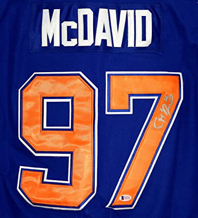 detailed look bd478 b2b18 Connor McDavid Signed Autographed Edmonton Oilers #97 Blue ...