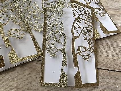 Amazon Com Glitter Gold Tree Design Wedding Invitations Tree
