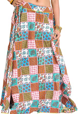 Exotic India Patchwork con diseño de flores de larga con estampado ...