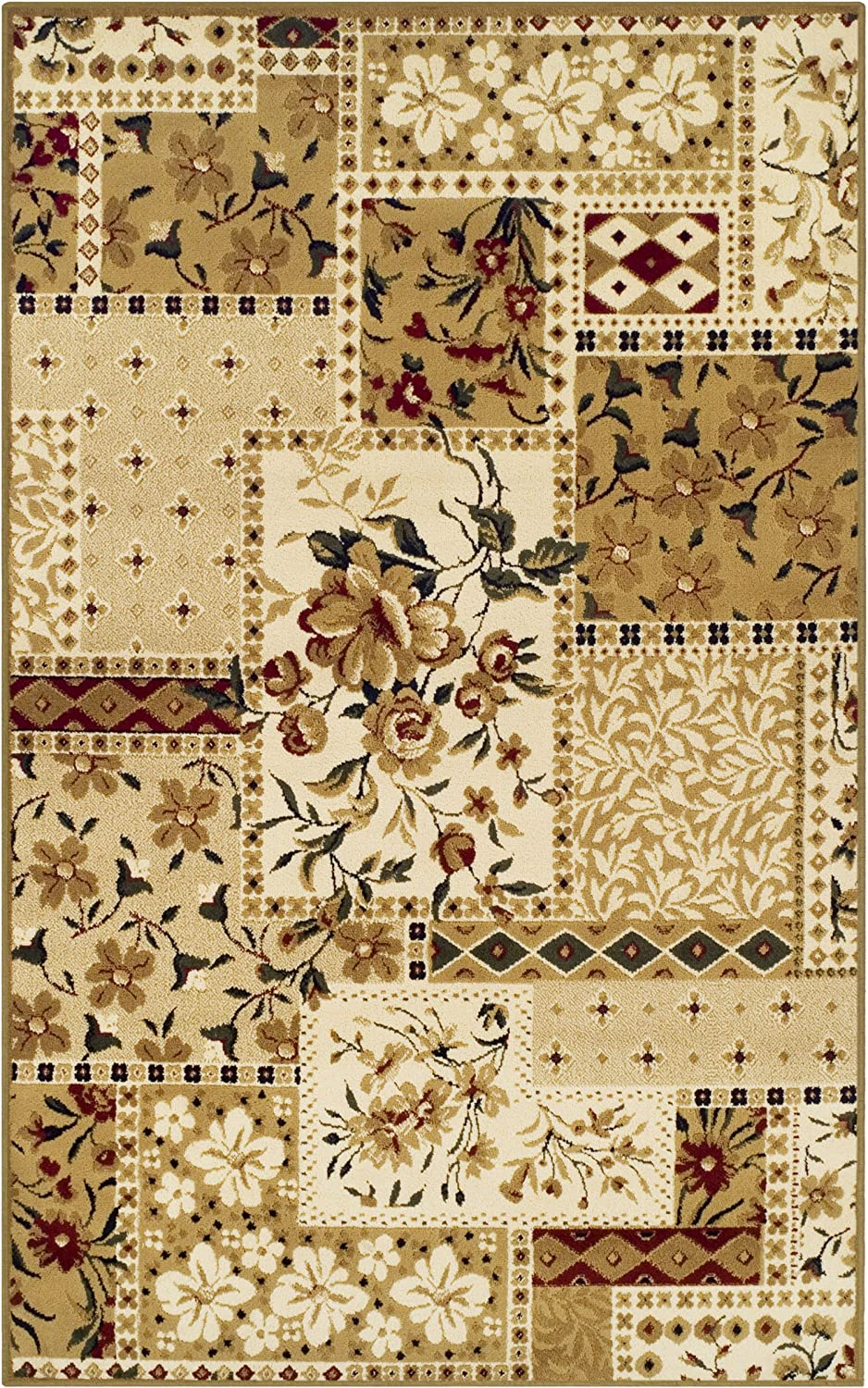 SUPERIOR Flower Patch Collection Area Rug, Beautiful Floral Patchwork Design, 10mm Pile Height with Jute Backing - 2' x 3' Rug, Multi -Color
