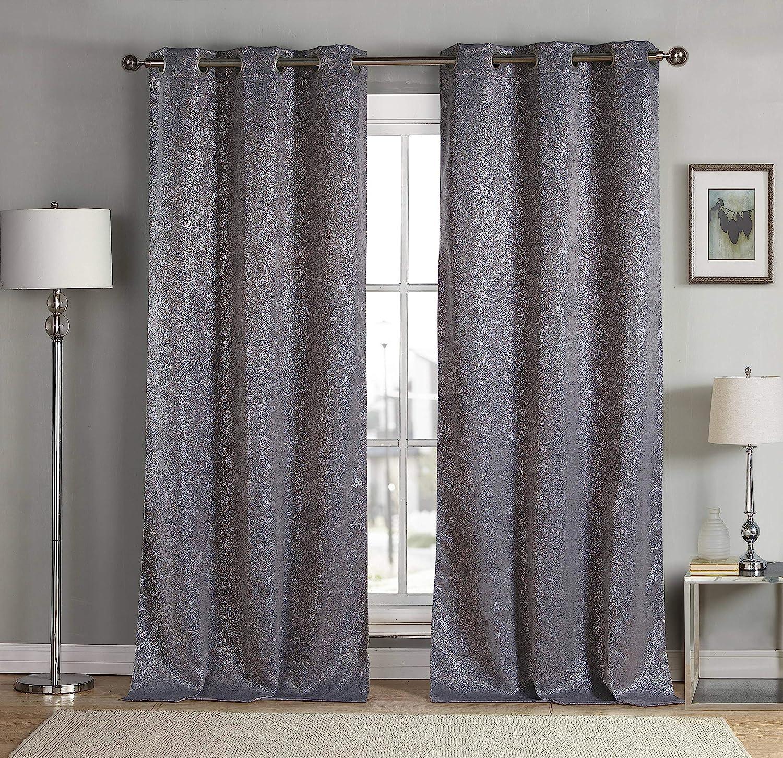 kensie Maddie Metallic Specks Blackout Curtain, W38 X L84, Grey