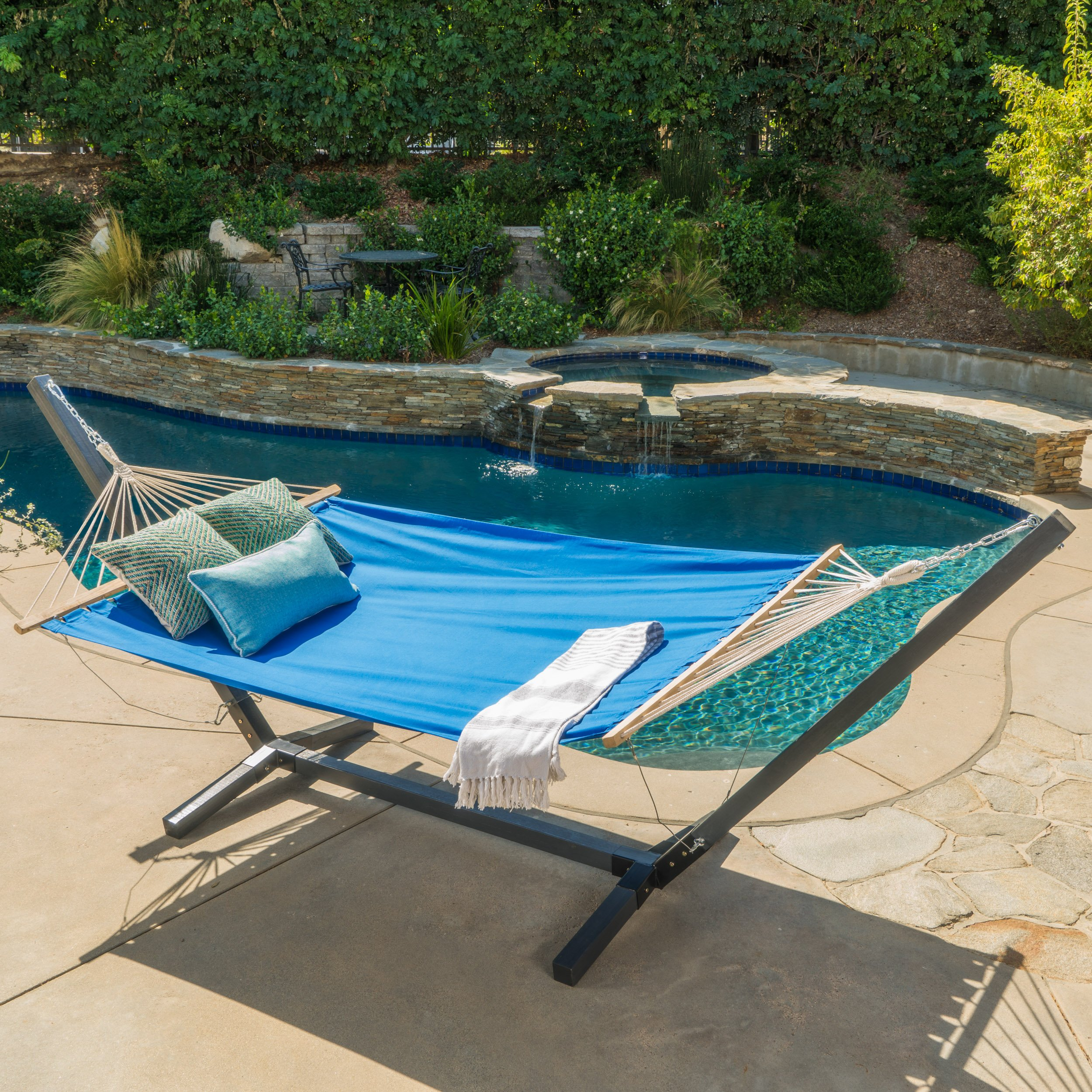 Aspen Outdoor Light Blue Water Resistant Hammock with Grey Larch Wood Frame by Christopher Knight Home by Christopher Knight Home