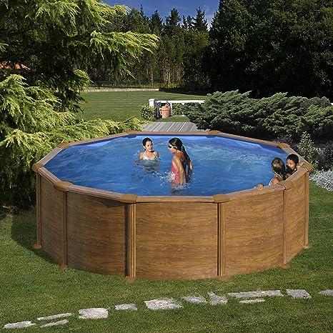 Gre KIT460W Pacific - Piscina Elevada Redonda, Aspecto Madera, 460 x 120 cm