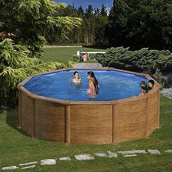 Gre KITPR458WO- Piscina Mauritius desmontable redonda de acero decoración madera Ø 460x132 cm: Amazon.es: Jardín