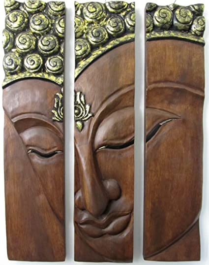 Large Wooden Buddha Face Wall Decor Hand Carved Wood 3 Panel Art