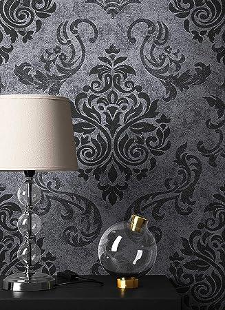 NEWROOM Barocktapete Tapete Schwarz Ornament Barock Vliestapete Vlies  Moderne Design Optik Barocktapete Wohnzimmer Glamour Inkl.