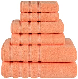 American Soft Linen Premium, Luxury Hotel & Spa Quality, 6 Piece Kitchen & Bathroom Turkish Towel Set, Cotton for Maximum Softness & Absorbency, [Worth $72.95] (Malibu Peach)
