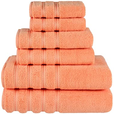 American Soft Linen Premium, Luxury Hotel & Spa Quality, 6 Piece Kitchen & Bathroom Turkish Towel Set, Cotton for Maximum Softness & Absorbency, [Worth $72.95] (Malibu Peach)