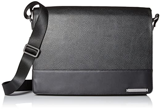 Amazon.com  Calvin Klein Men s Pebble Leather Messenger, Ink Black ... 387638a137