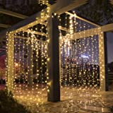 Amazon Price History for:LEORX 3M x 3M 300 LED Curtain Lights with 8 Modes 2700K Warm White
