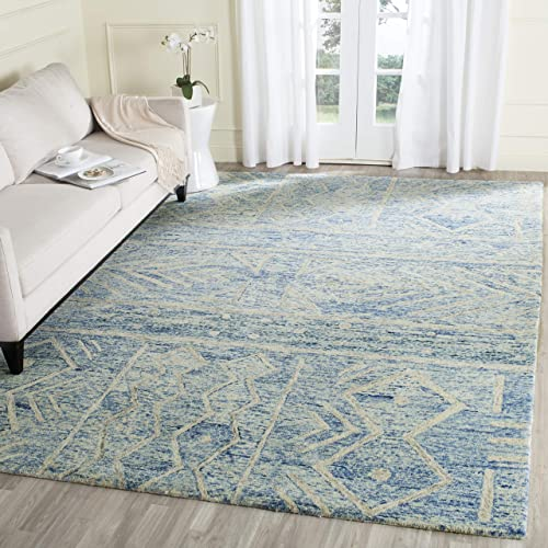 Safavieh Chatham Collection CHT764B Handmade Wool Area Rug, 8 x 10 , Blue Ivory
