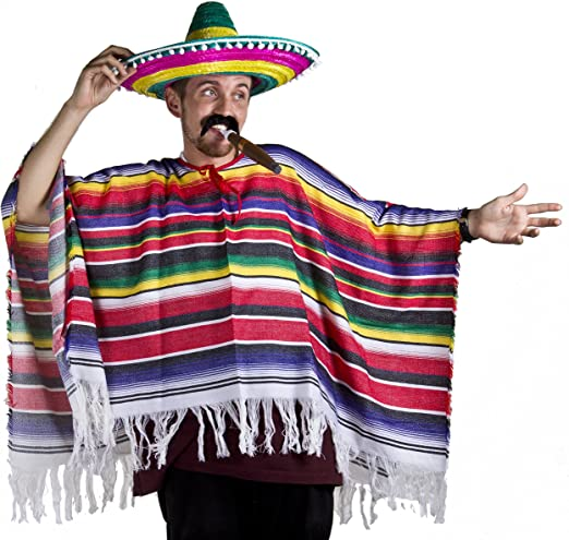 ILOVEFANCYDRESS Poncho mexicano Sombrero & Tash Western disfraz ...