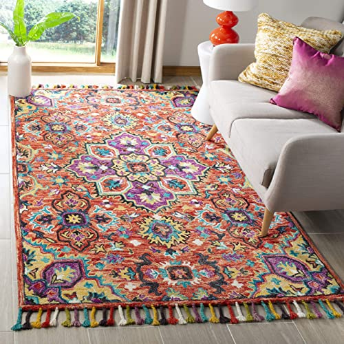 Safavieh Aspen Collection APN118Q Handmade Boho Floral Braided Tassel Wool Area Rug