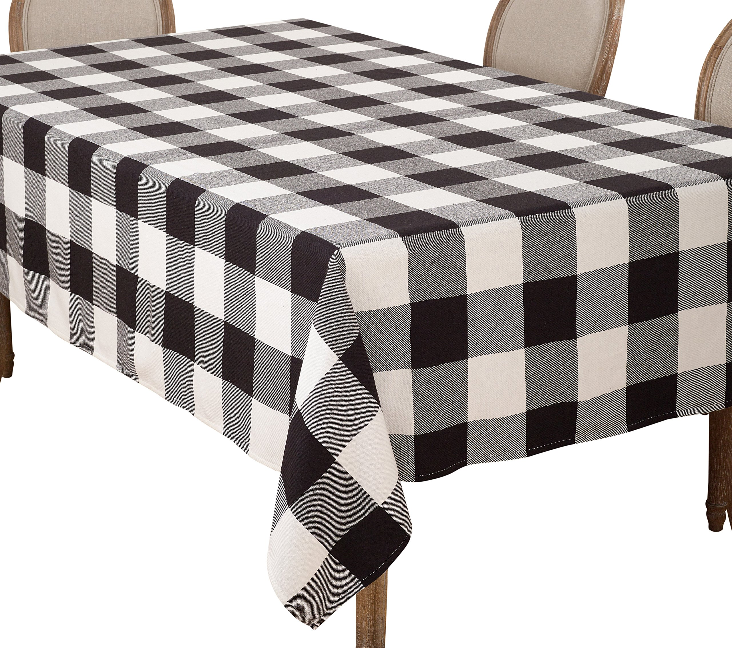 SARO LIFESTYLE Buffalo Plaid Check Design Cotton Tablecloth, 65'' x 160'', Black